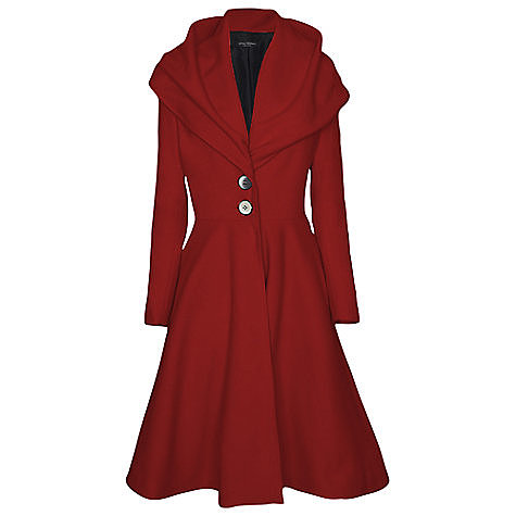 James Lakeland Long Flared Coat, Red