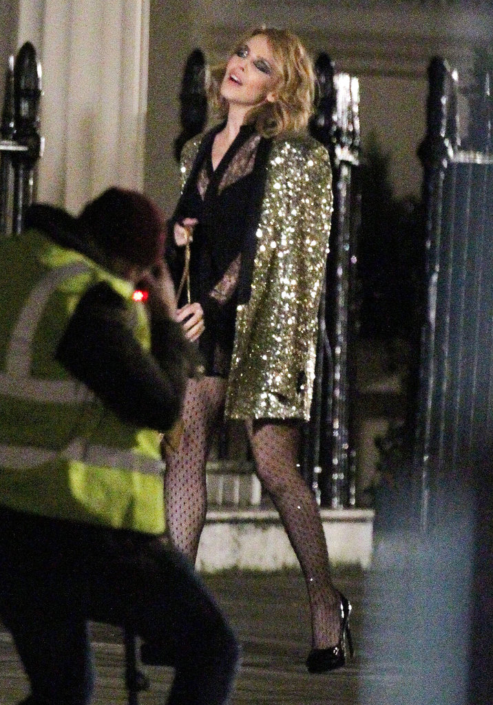 Kylie Minogue shot a music video for her upcoming single in London on Sunday.