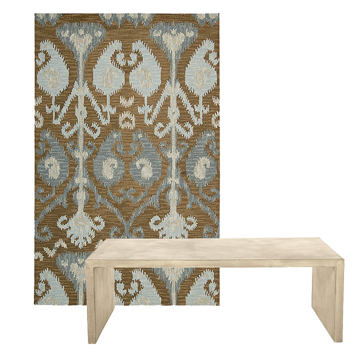 This ikat area rug ($220–$1,100) has mocha