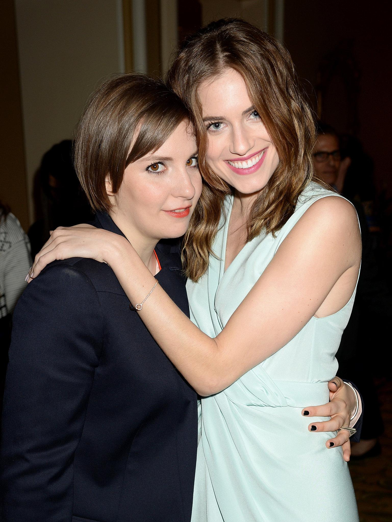 Girls costars Allison Williams and Lena Dunham embraced.