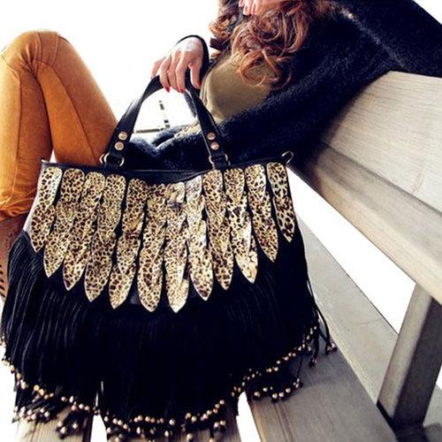 Image of [grd03081]Vintage Leopard Tassel Bag&Handbag