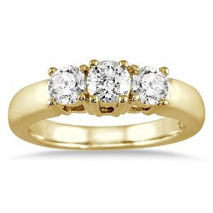 Amazon.com: 1.00 Carat Three Stone Diamond Ring in 10K Yellow Gold: SZUL: Jewelry