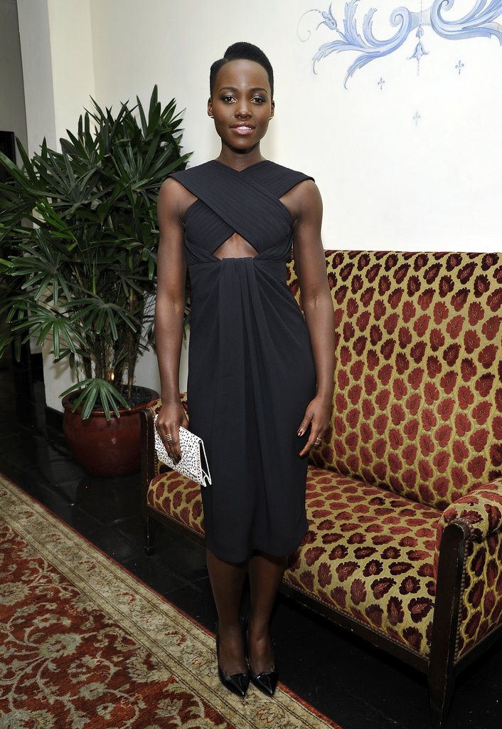 Lupita Nyong'o had nothing to hide in Proenza Schouler's peekaboo LBD at W's Golden Globes bash.