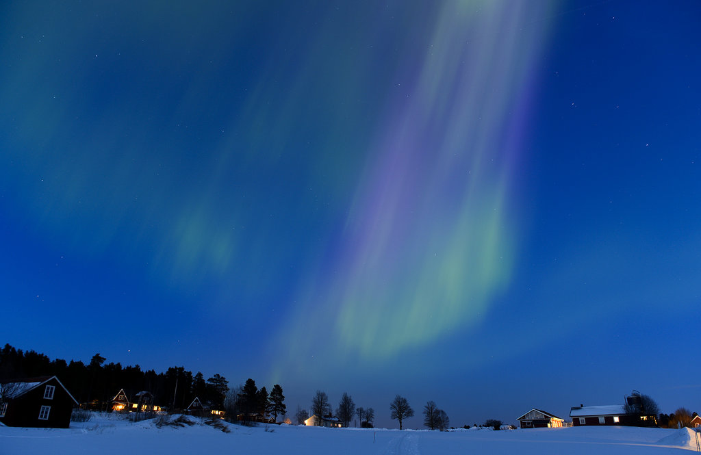 Bright colors streaked across the sky in Sweden thanks to the aurora borealis back in March 2013.
