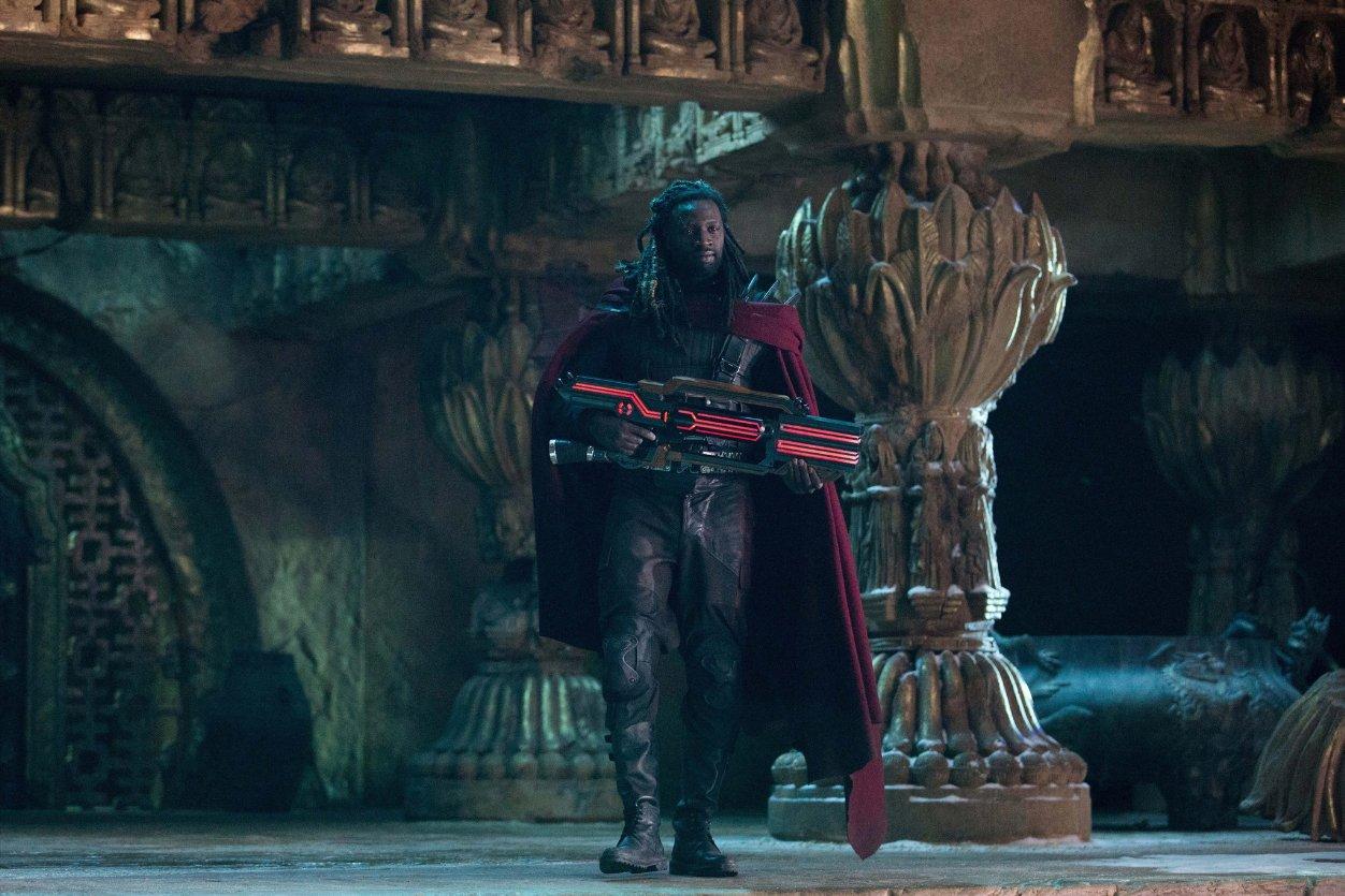 Omar Sy appears as Bishop.