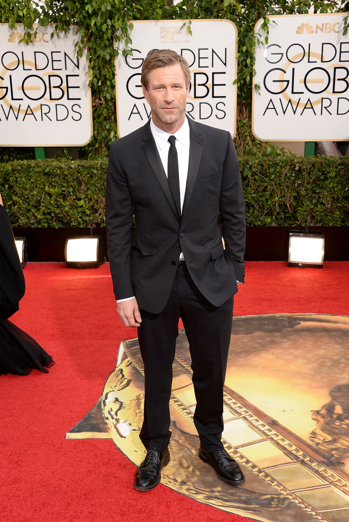 Aaron Eckhart looked handsome at the Golden Globes.