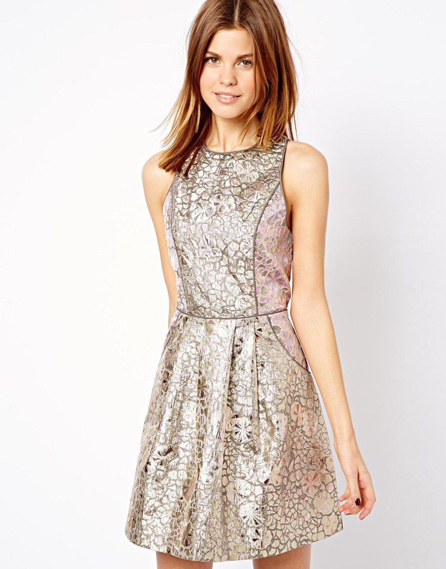 A Wear Metallic Floral Racer Dress