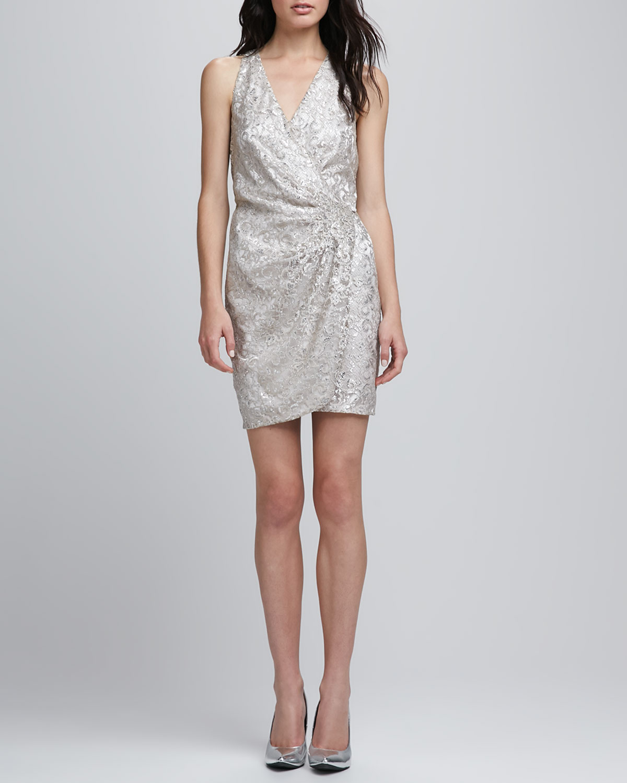 Parker Metallic Silver Lace Wrap Dress