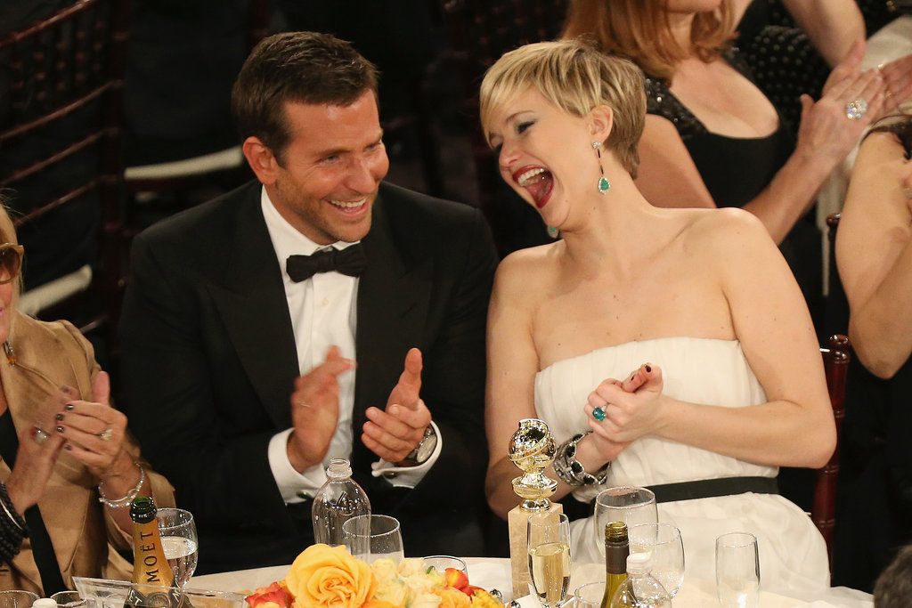 At the Globes, Jennifer Lawrence cracked up alongside Bradley Cooper.  Source: Christopher Polk/NBC/NBCU Photo Bank/NBC