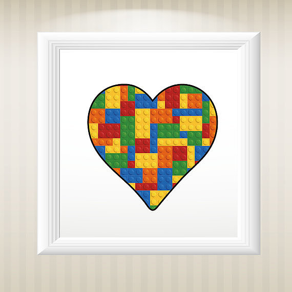 Add some love to your playroom with a Lego heart ($15).