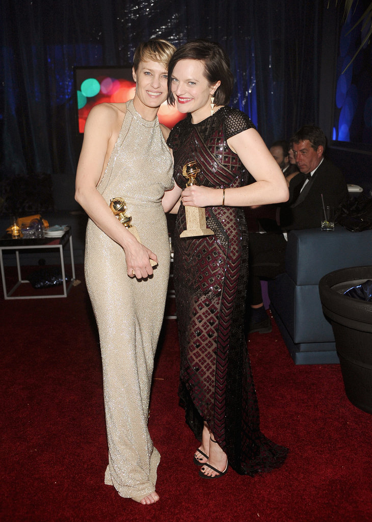 Robin Wright and Elisabeth Moss flaunted their new awards at the InStyle and Warner Bros. bash after the Golden Globes.
