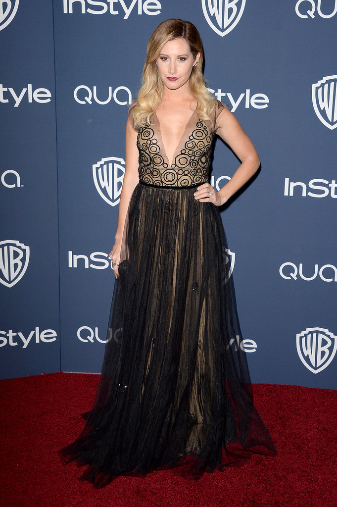Ashley Tisdale went for a dark, dramatic look in her Yanina dress.