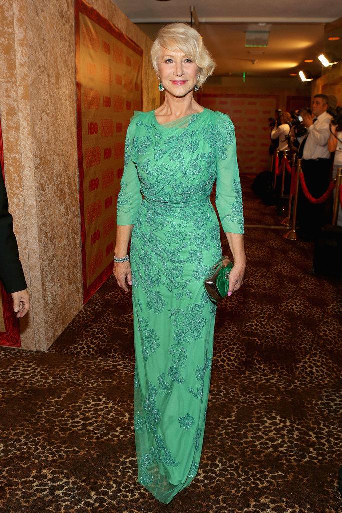 Helen Mirren wore a green frock.