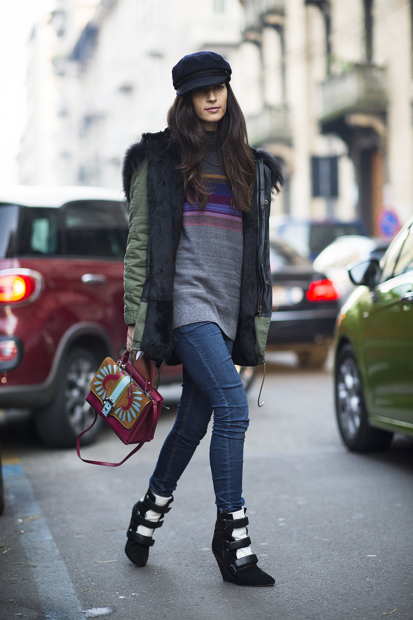 She mastered the cool-girl uniform, from the furry anorak to the wedged Isabel Marant boots. Source: Le 21ème | Adam Katz Sinding