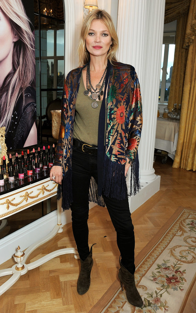 On promotional duties for Rimmel, Kate picked a fringed kimono jacket and loads of boho necklaces to top off her black skinnies.