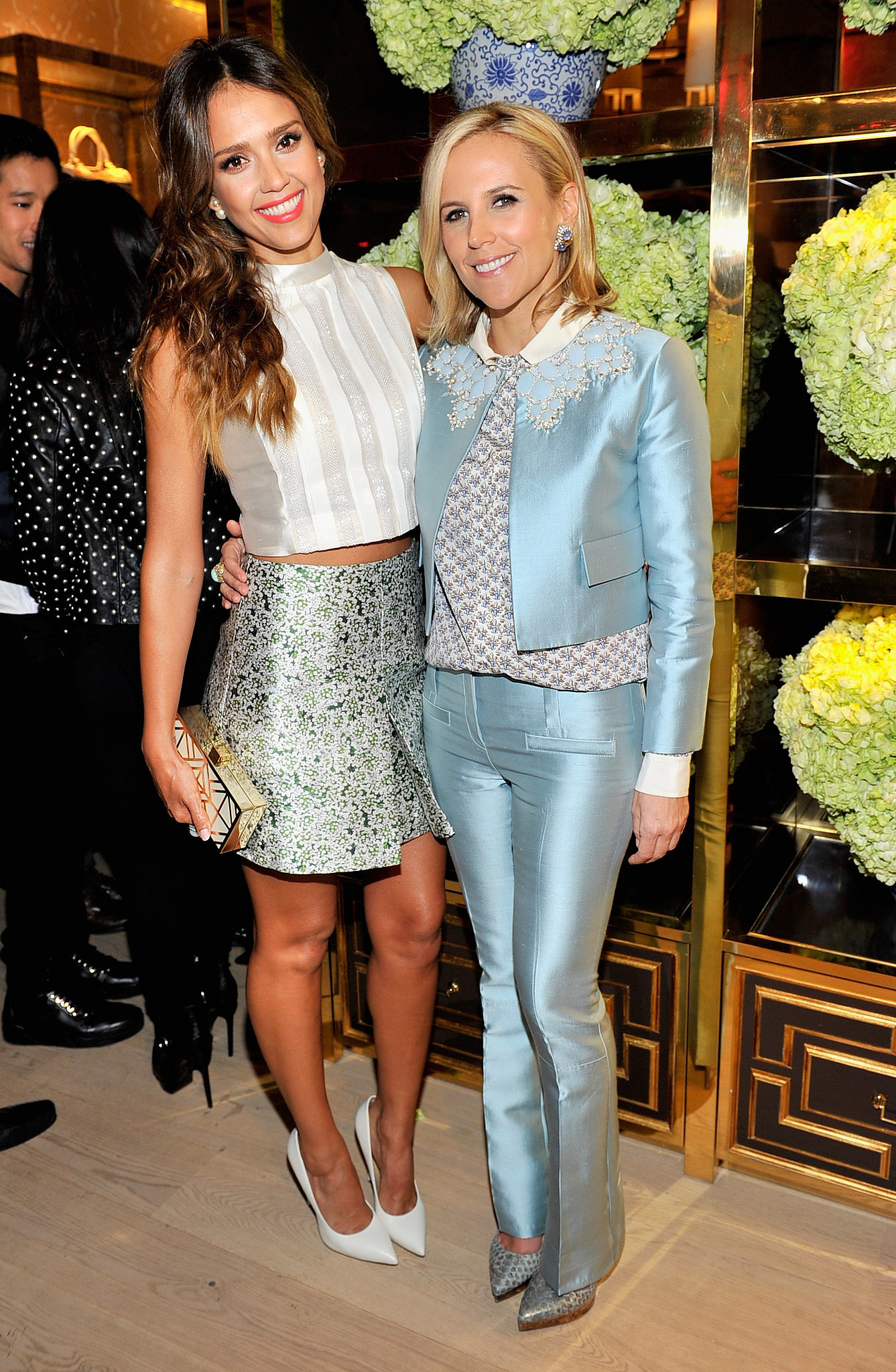 Jessica Alba and Tory Burch at the Tory Burch Rodeo Drive flagship opening.