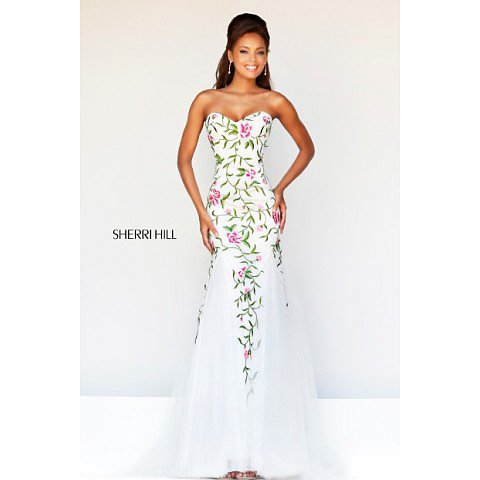 Sherri Hill 1926 White Multi Prom Dress