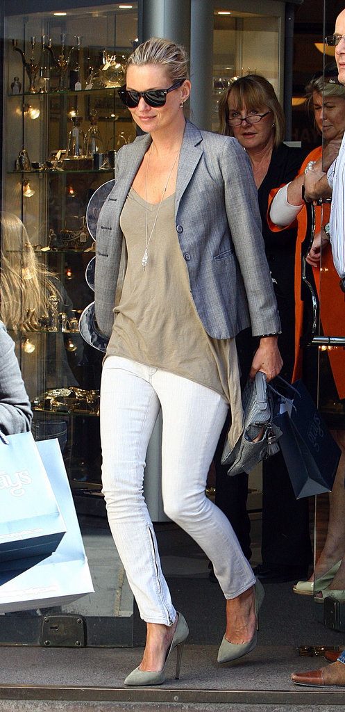 White jeans aren't just for Liz Hurley. Kate put a cool spin on them by adding her favourite loose vest, a blazer, and killer heels.