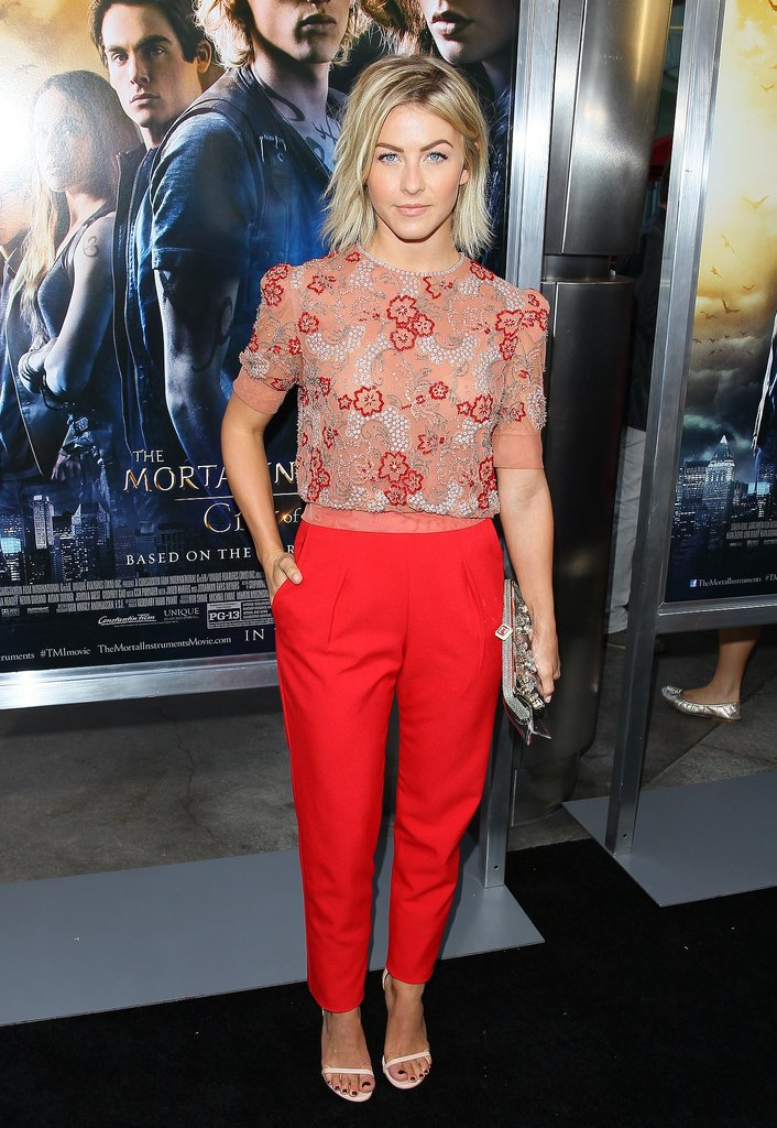 Jenny Packham's floral-embellished crop top and tapered crimson trousers were the perfect duo to show off Julianne Hough's fit frame in August 2013. Where to Wear: A hot air balloon ride. Finish with a denim jacket to rebuff those high-tail winds.