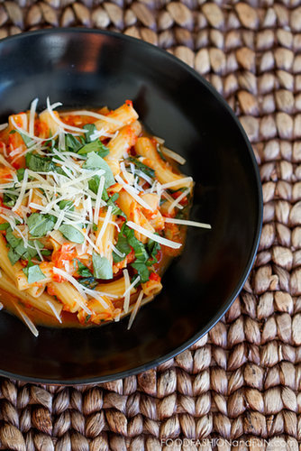 Roasted Red Pepper Pasta with Artichokes