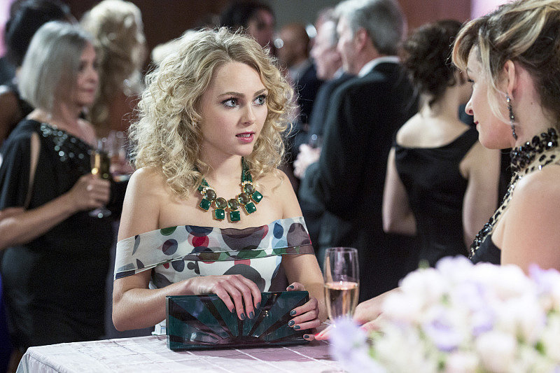 Carrie parties the night away in a polka-dot print Carolina Herrera gown, accessorized with this double row Bounkit necklace ($1,738), on this week's episode. This striped Carolina Herrera creation ($4,690) is just as playful as Carrie's selection.