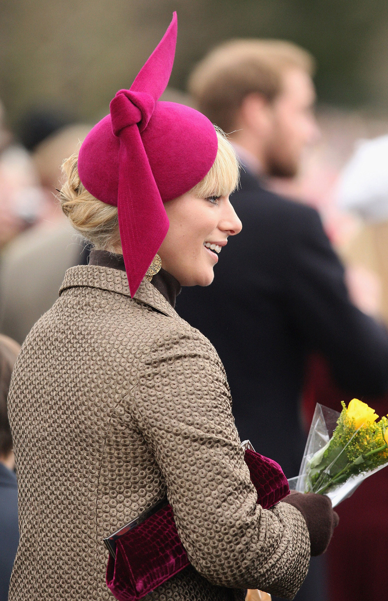 With an ornament atop her head, Zara attended Christmas Day church service in 2008.