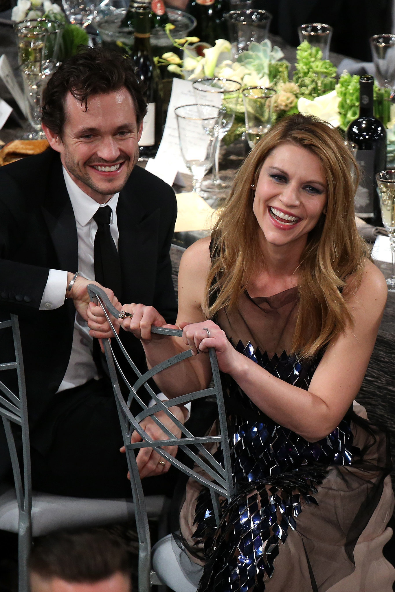 Claire Danes and Hugh Dancy watched the SAGs from their seats.