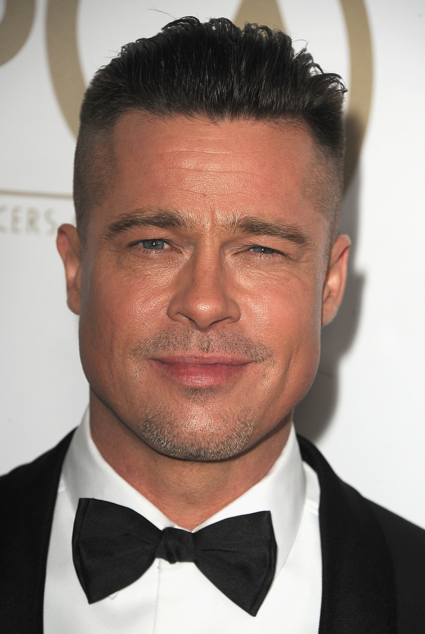 Brad Pitt wore his hair perfectly combed back.