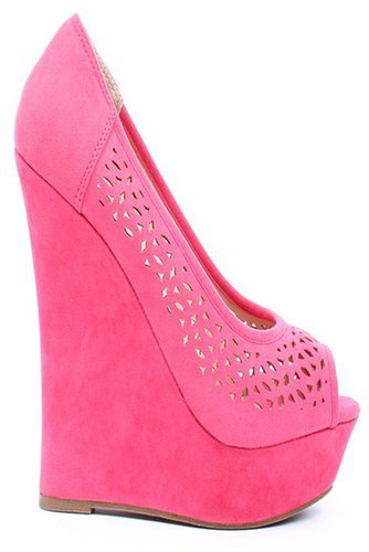 CORAL FAUX SUEDE CUTOUTS PEEP TOE PLATFORM WEDGE PUMPS