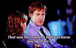 """As they're looking back on their relationship, Pam tells Jim when he caught her attention. Pam: """"You came up to my desk and you said, 'This might sound weird, and there's no reason for me to know this, but that mixed berry yogurt you're about to eat is expired.'"""" Jim: """"That was the moment that you knew you liked me."""" Pam: """"Yup."""" Jim: """"Wow. Can we make it a different moment?"""" Pam: """"Nope."""""""