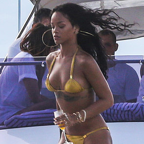 Rihanna in a Gold Bikini in Rio