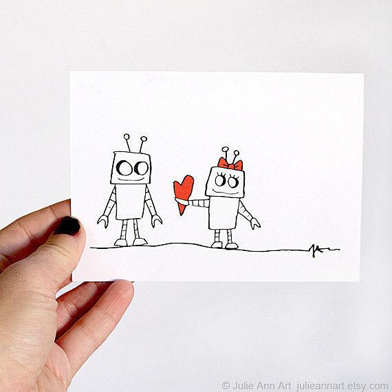 Robot meets robot. Robot falls in love ($5). A timeless tale.
