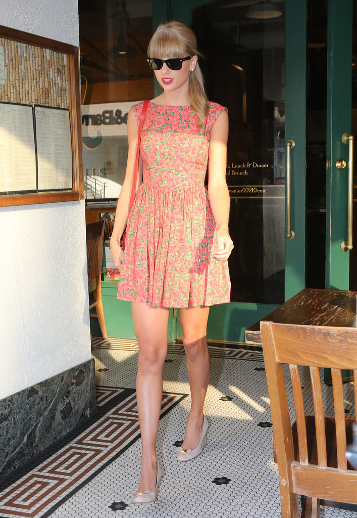 Taylor Swift put her mile-long legs on display in a blooming pleated minidress and demure nude pumps last August. Where to Wear: A picnic at the park.