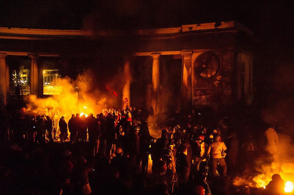 Fires burned throughout the protesters' camp.