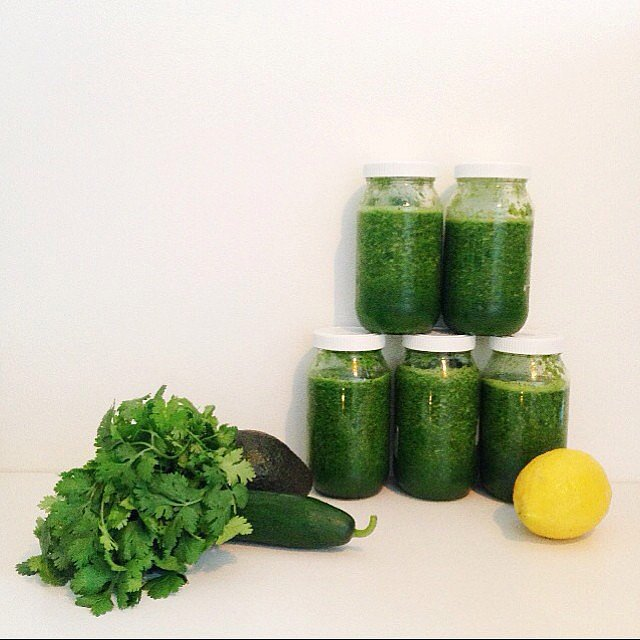"""Yep, we're three weeks into the new year. It's time to get serious! Alison blended two cups cold filtered water, six cups spinach, five cups cos lettuce, two stalks celery, one organic apple cored, one organic pear cored, one organic banana, a tablespoon of organic lemon juice and a cut of fresh ginger to make this super green smoothie. The apple, pear and banana work so well to make this a tastier option than a """"just greens"""" juice."""