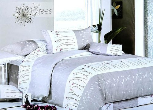 $ 48.99 Stunning Grey Floral 4 Piece Fabulous Duvet Cover Bedding Set