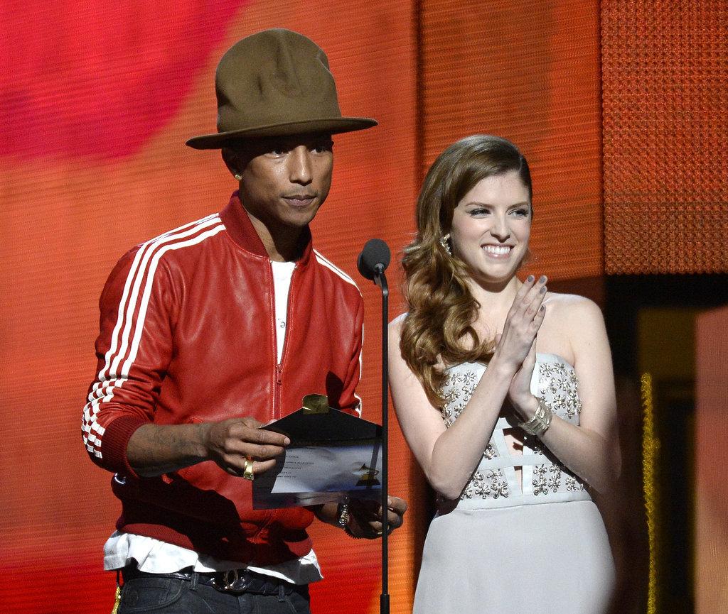 Pharrell Williams and Anna Kendrick joked around while presenting the best new artist award.