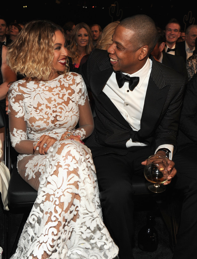 Jay Z and Beyoncé sipped and smiled in the audience at the Grammys.