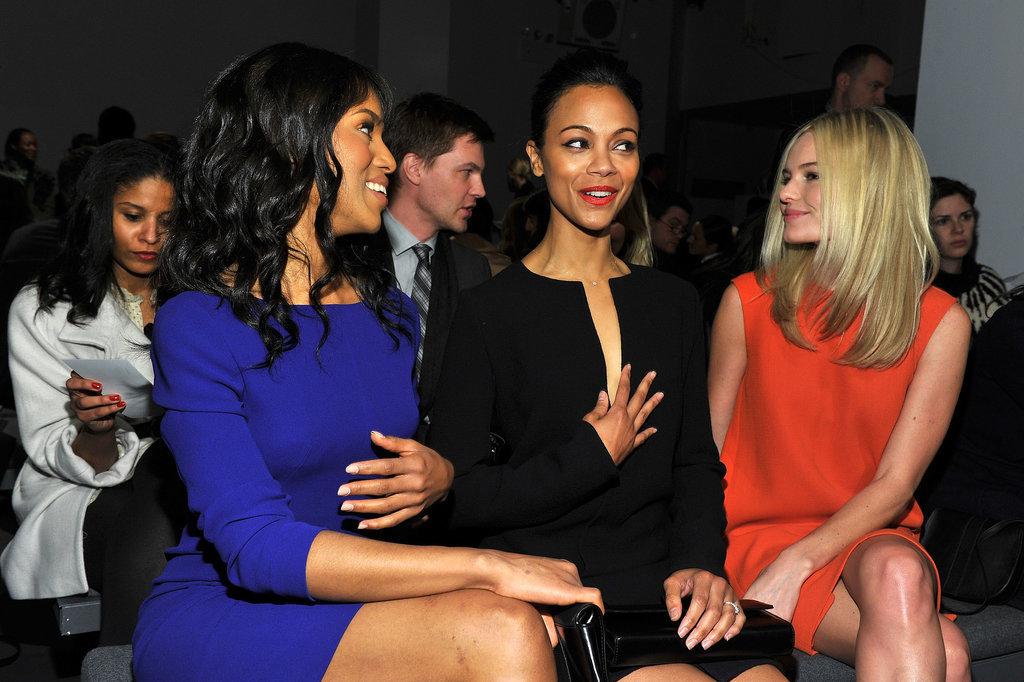 She Enjoys Fashion Shows With Zoe Saldana and Kate Bosworth