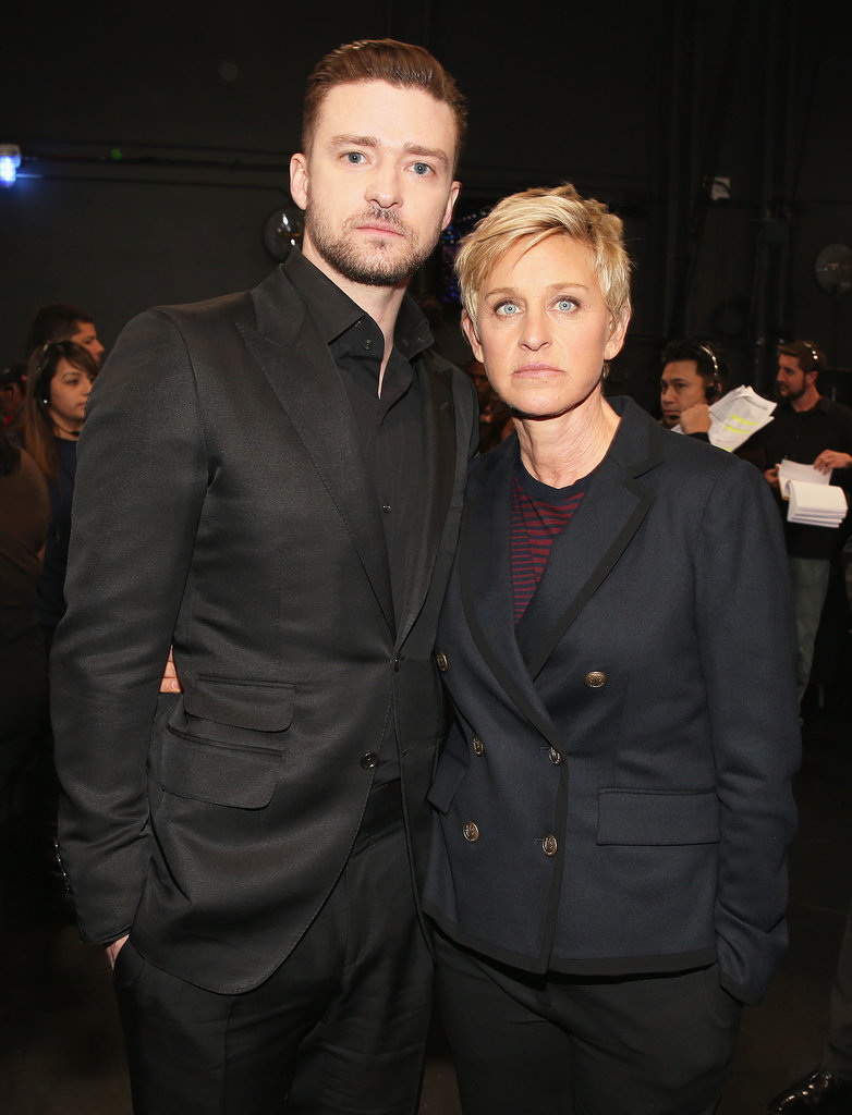 Ellen DeGeneres served as Justin's date to the People's Choice Awards in January 2014.