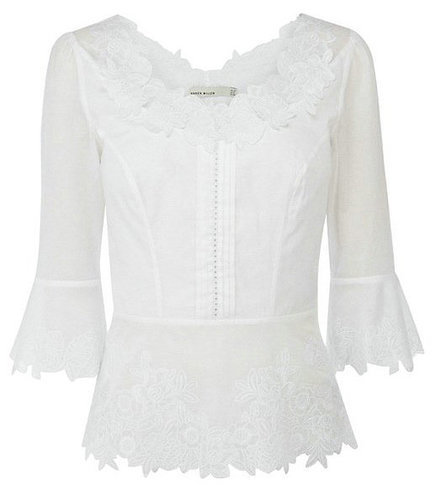 Cotton Cutwork Top with Lace