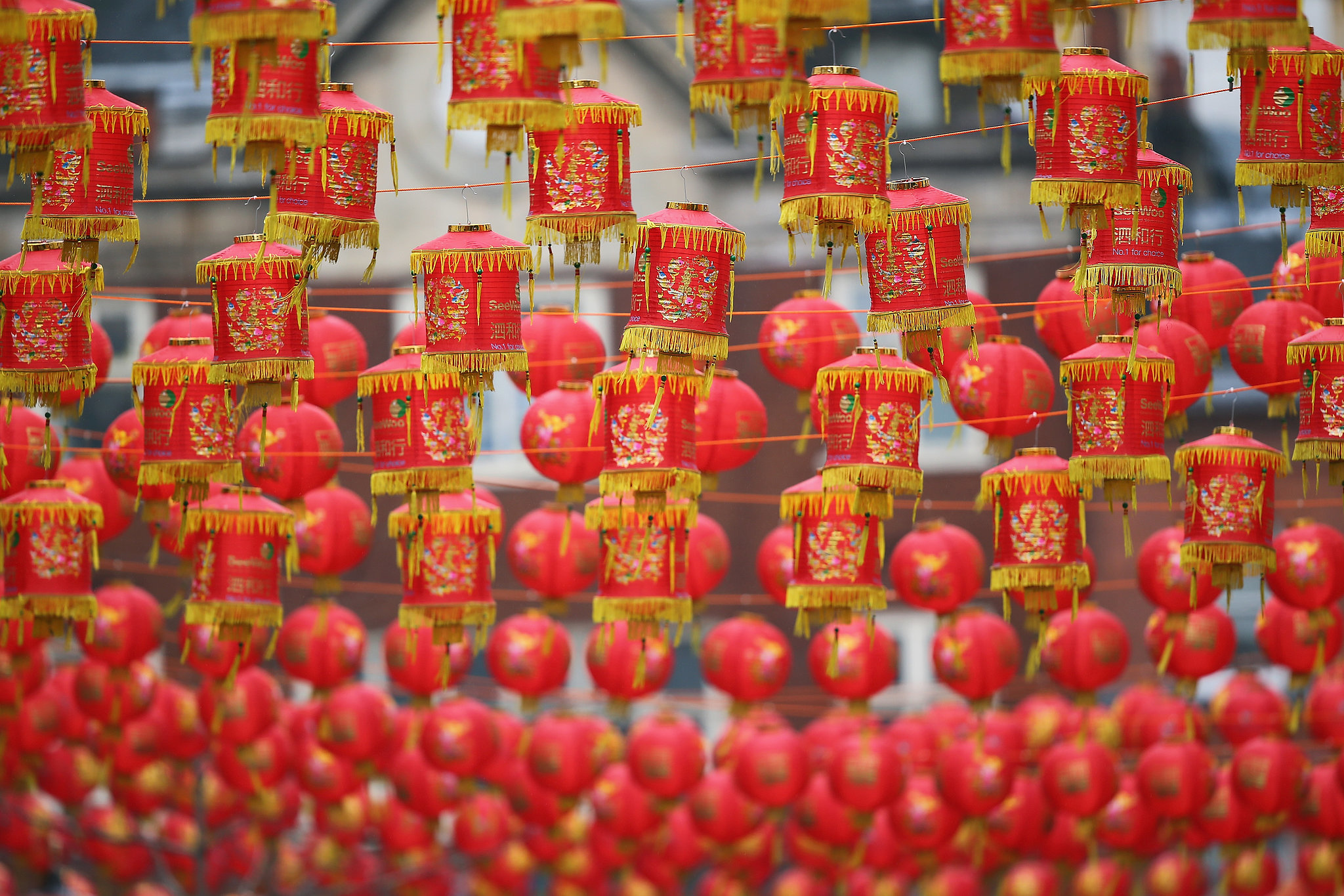 Lanterns hung above London's China Town.