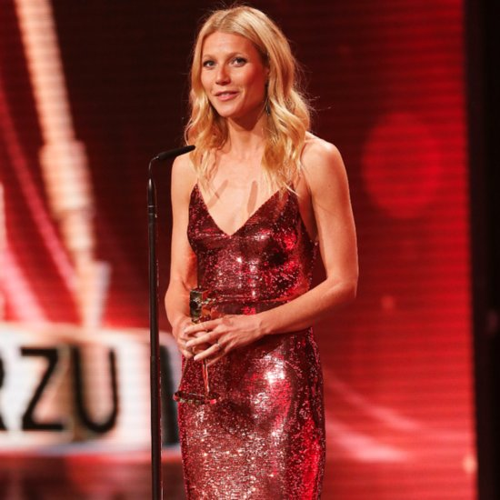 Pictures Of Gwyneth Paltrow Wearing Shiny, Sparkly Red Dress