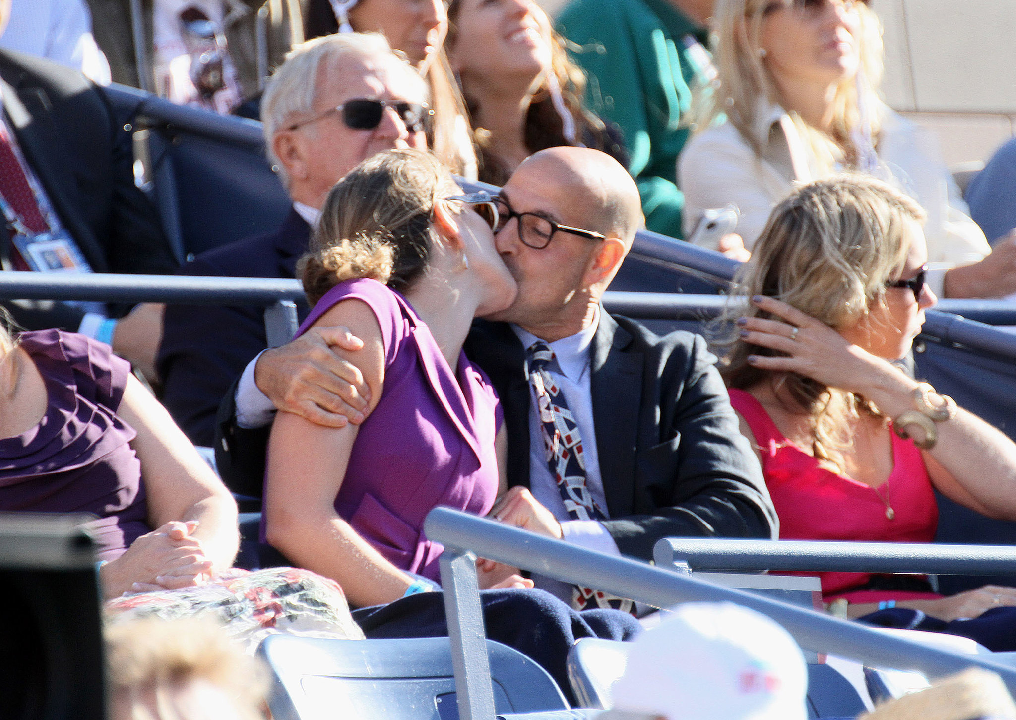 Stanley Tucci and Felicity Blunt kissed in the stands at the US Open in September 2012.