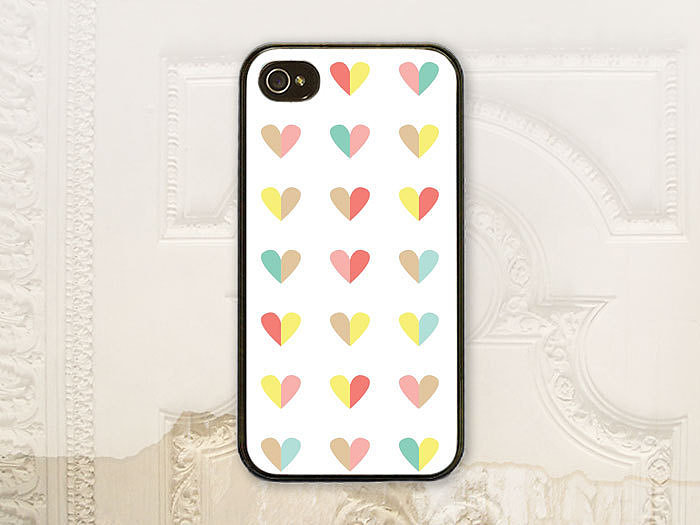 Colored hearts case ($18-$25) for iPhone and Samsung Galaxy S4 models
