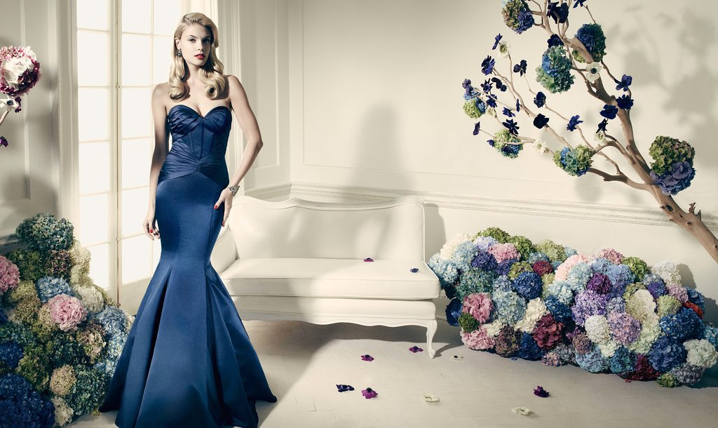 Truly zac posen navy long strapless fit and flare dress for Zac posen wedding dresses