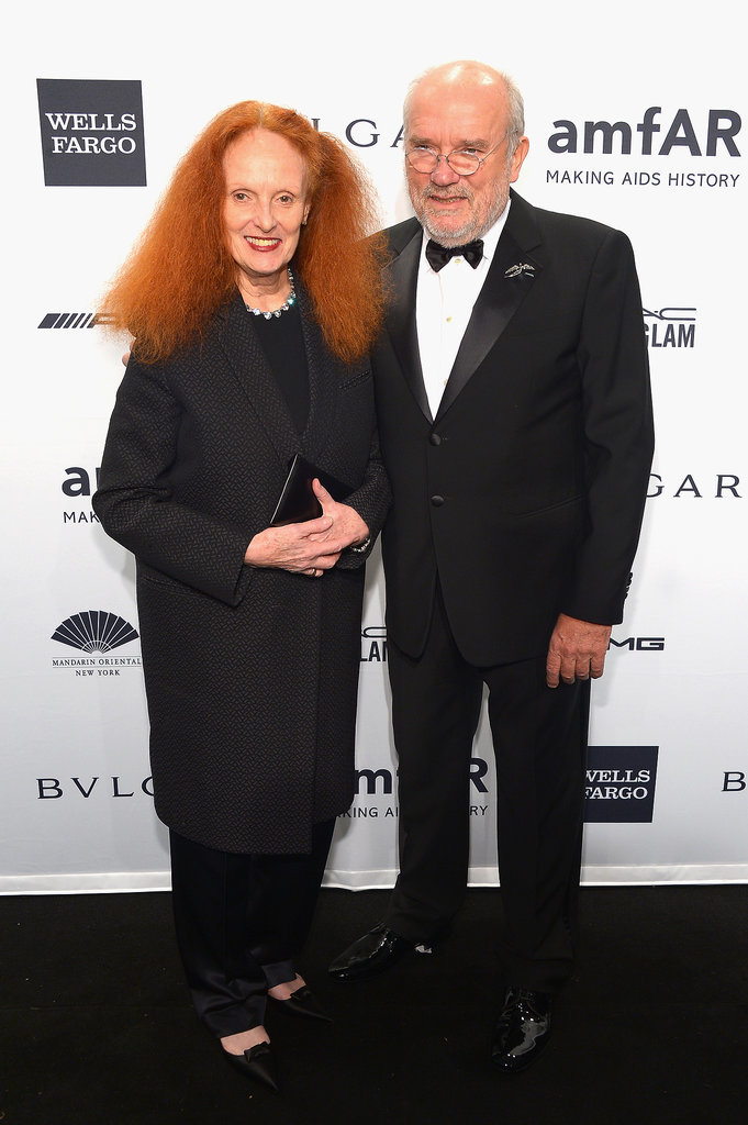 Grace Coddington and Peter Lindbergh at amfAR's New York Gala.