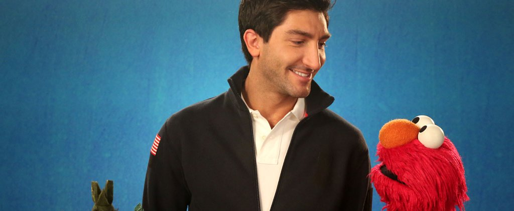 Evan Lysacek Confidently Skates Over to Sesame Street