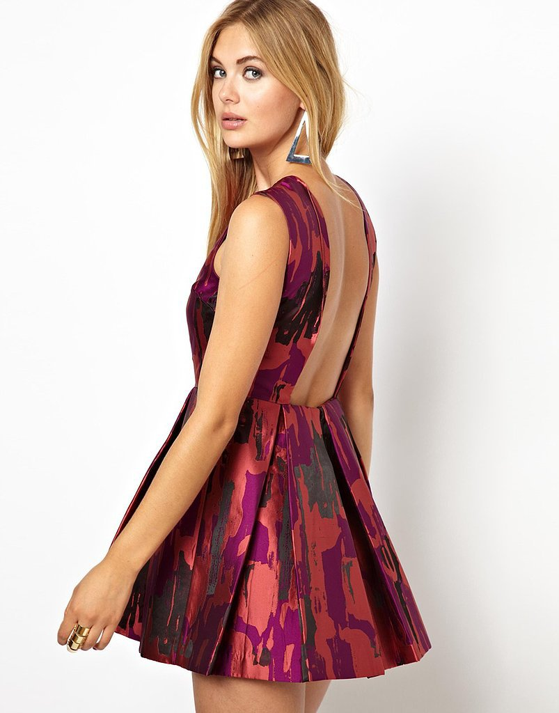 AQ AQ Backless Jacquard Skater Dress ($139, originally $278)