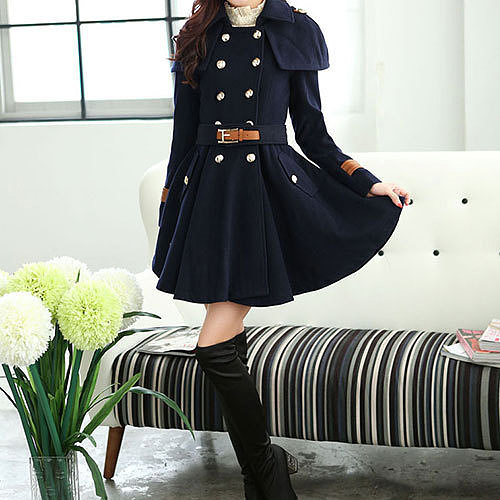 Image of  [grzxy6601017]Cloak Style Double Breast Belted Ruffled Trench Coat Jacket